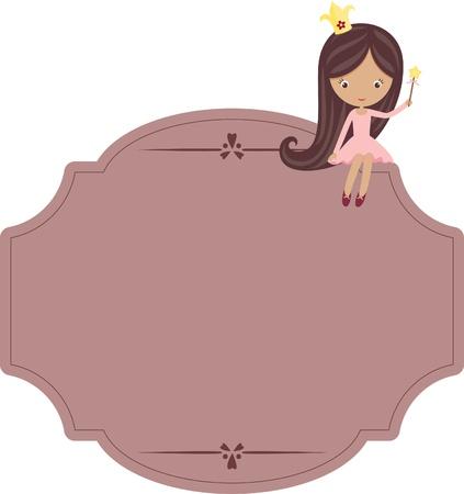 label: Cute little princess zittend op een lege paarse bord Stock Illustratie