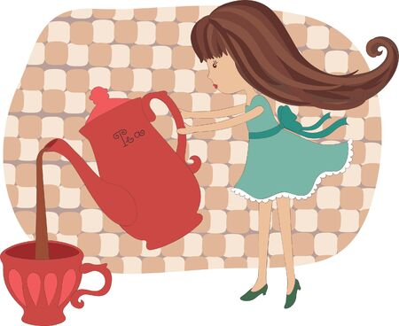 stand teapot: Little girl pouring out tea Illustration