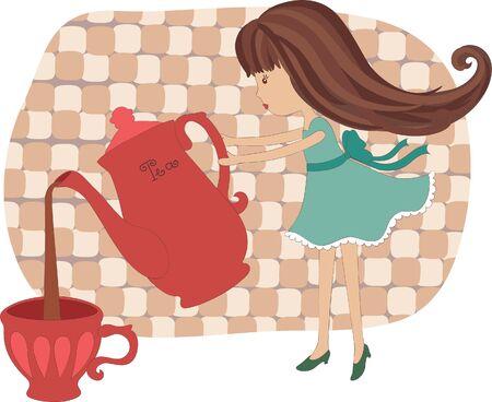 tea hot drink: Little girl pouring out tea Illustration