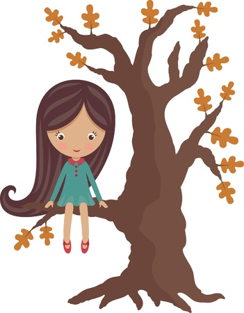 cartoon little girl: Little girl sitting on a tree