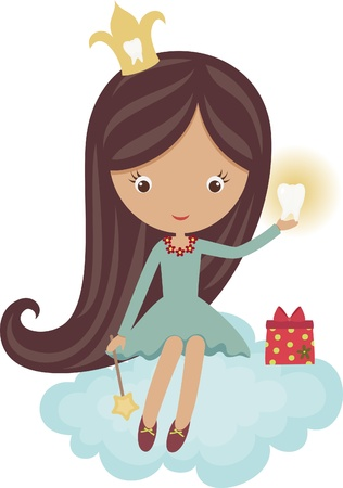 girl in red dress: Cute little tooth fairy, sitting on a cloud