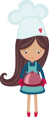 chef caricatura: Cocinero de la muchacha peque�o con plato caliente