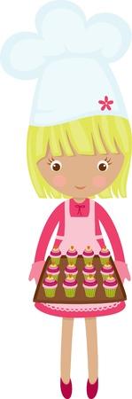 panadero: Little chef chica caliente con bollos frescos Vectores