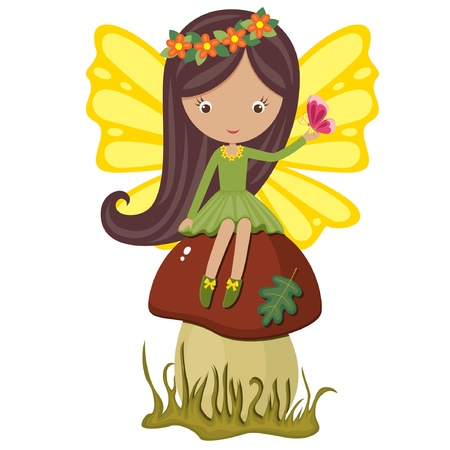 fairy cartoon: Cute fairy sitting on a mushroom with butterfly Illustration