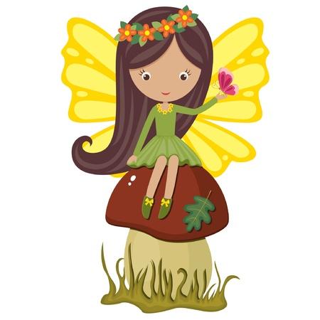 hadas caricatura: Linda hada sentada en un hongo con mariposa