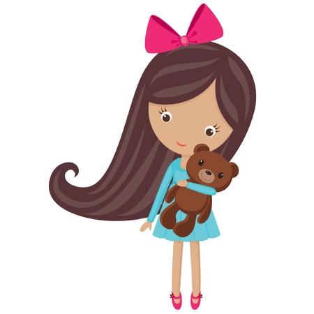 bow hair: Ni�a linda con su osito de peluche, aislado en blanco