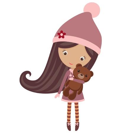 그녀의 테 디 베어와 함께 겨울 복장에 귀여운 소녀 일러스트