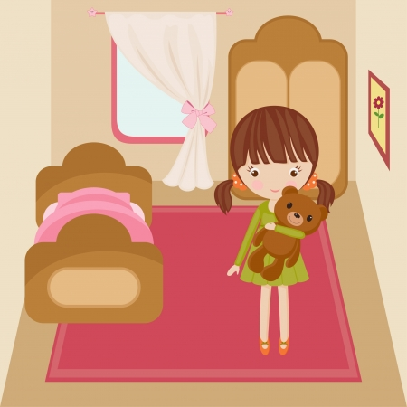 living room design: Little girl in her room with toy