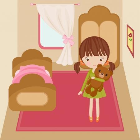 child bedroom: Ni�a en su habitaci�n con el juguete