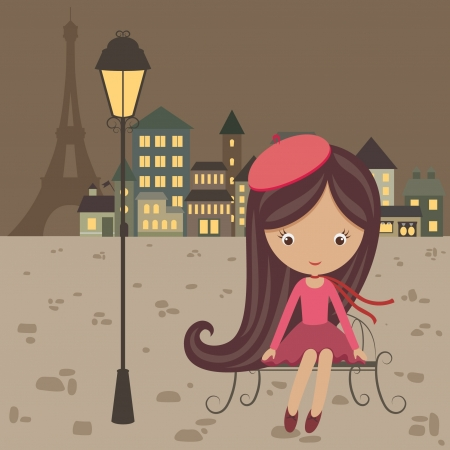 French girl sitting alone on a bench on the paris street Vector