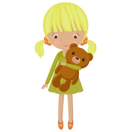 Little blond meisje met haar teddybeer Stock Illustratie
