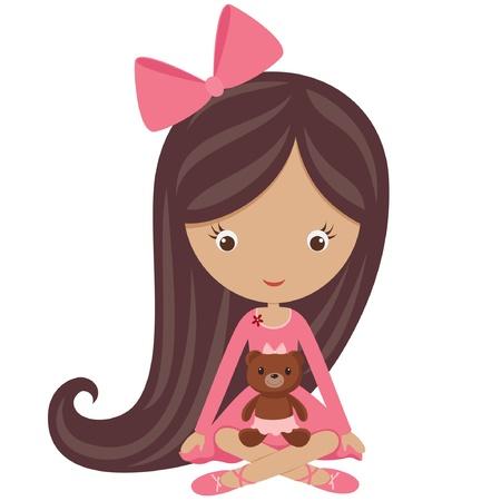 cartoon m�dchen: Kleines M�dchen in einem rosa Kleid sitzt mit ihrem Teddyb�ren Illustration
