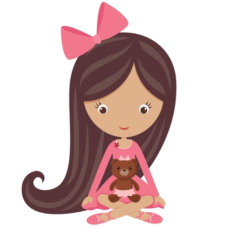 moño rosa: Niña en un vestido rosado que se sienta con su osito de peluche Vectores