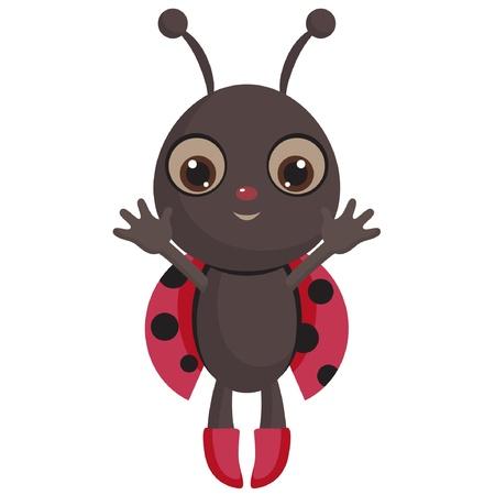 funny baby: Baby ladybug, isolated on white