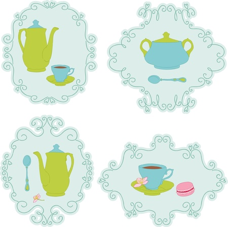 Retro tea time sticker set Vector