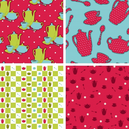 Seamless retro design wallpapers pattern. Tea time Vector