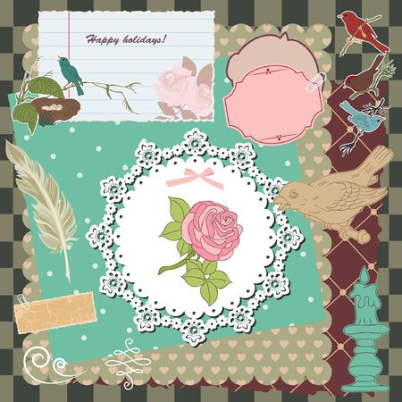 Vintage scrapbook template. Birds Vector