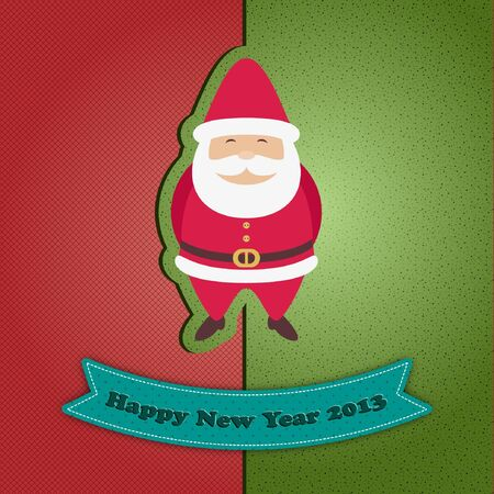 Red and green New Year card with Santa Claus Stock Vector - 16436437