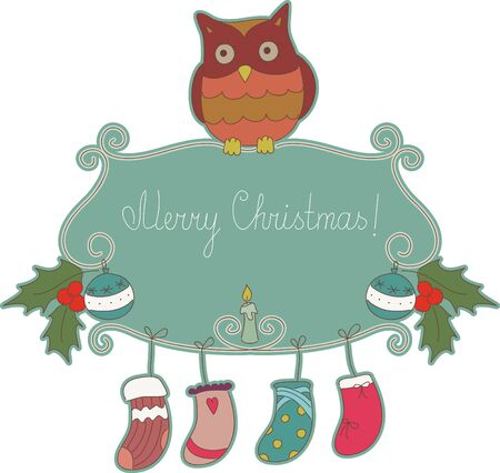 owl illustration: Cute cartoon signboard with greetings