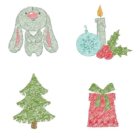 Christmas clip art design, drawn by charcoal pencil