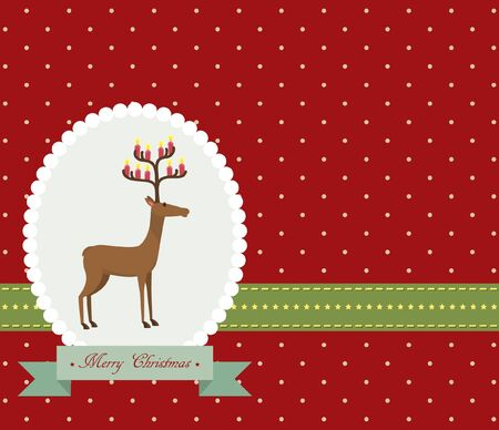 Red vintage Christmas card with cute deer Stock Vector - 16436427