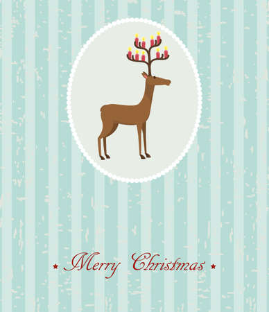 Blue vintage Christmas card with cute deer Stock Vector - 16436432