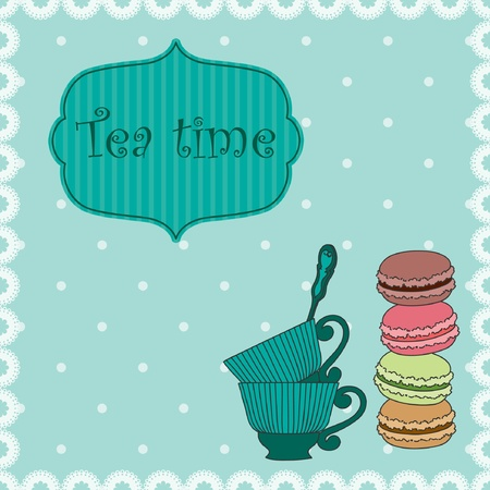 Tea time Retro background with cups and macaroons