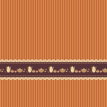 Brown blank background with tea time ribbon Vector