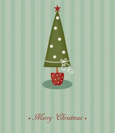 Christmas card with decorated Christmas tree Stock Vector - 16464331