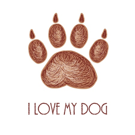love image: Hand drawn artistic paw track with text I love my dog