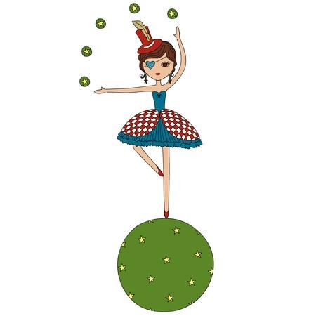 cirque: Cartoon circo ragazza acrobata