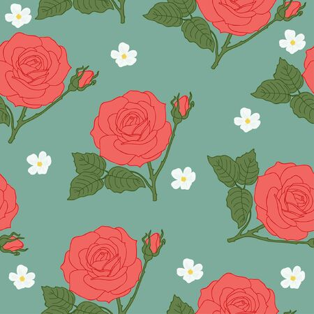 red rose: Floral vintage seamless wallpaper with roses