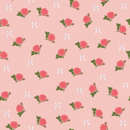 Floral pink seamless wallpaper with roses Vector