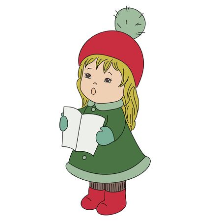 Toddler girl Christmas caroler singing alone Vector