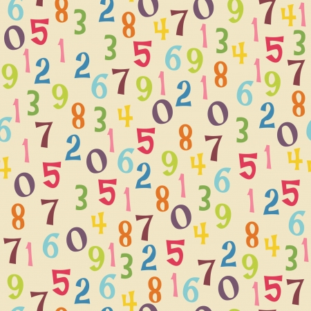 Seamless wallpaper design pattern with colorful numbers Vector