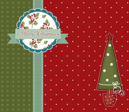 Red vintage Christmas card with Christmas tree Stock Vector - 16631942