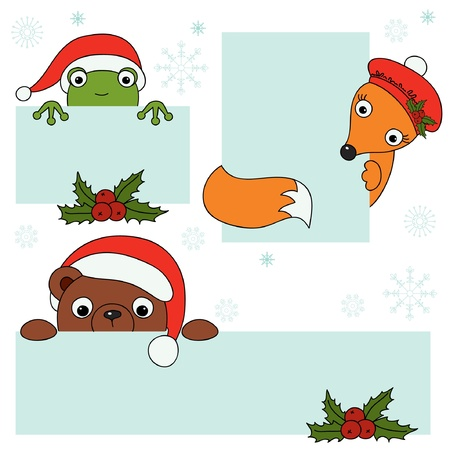Christmas animals holding blank signboard  Vector