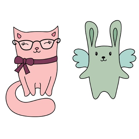 Cute cartoon hand drawn animals. Cat and bunny Vector