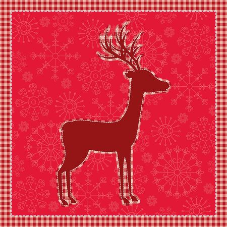 Red vintage Christmas card with deer Stock Vector - 16631941