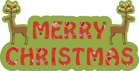 Text Merry Christmas and two funny deers Stock Vector - 16631940