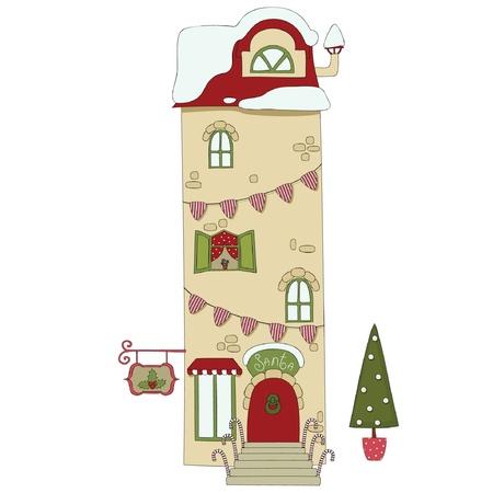 Santa Claus house outside, isolated on white Ilustração