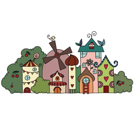 Fantasy fairy town Stock Vector - 16834055