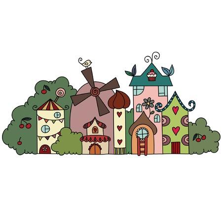 Fantasy Märchen Stadt Standard-Bild - 16834055