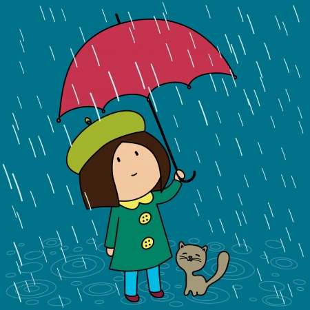 Little girl with her cat under the umbrella in a rainy day Illustration