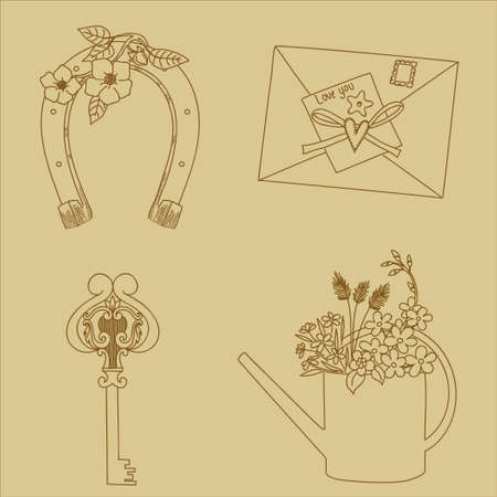 Vintage hand drawn elements Vector