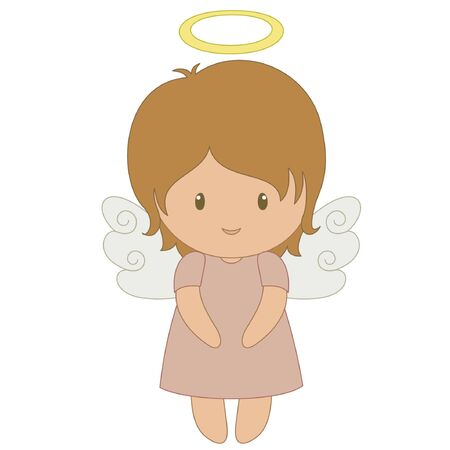 Cute cartoon angel, isolated on white