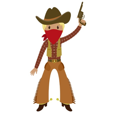 Western American cowboy with a gun . Cartoon illustration. Isolated on white Vector