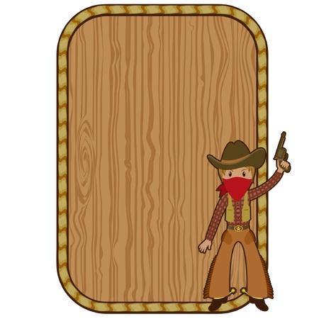 western usa: Cartoon cowboy near the wooden blank frame