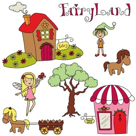 fairyland: Fairyland. Cute cartoon illustration. Set of isolated elements