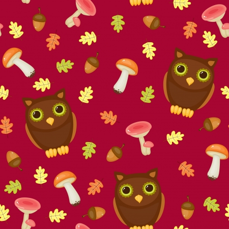Seamless wallpaper pattern. Cute owls with forest elements Vector
